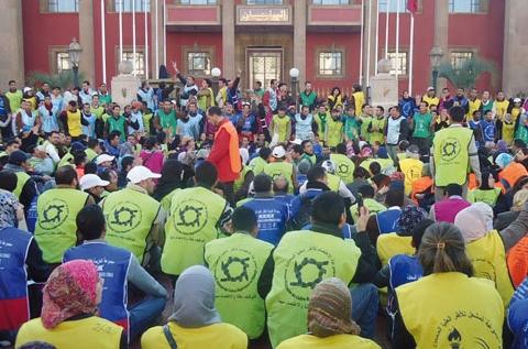 Chomeurs manifestant devant parlement maroc