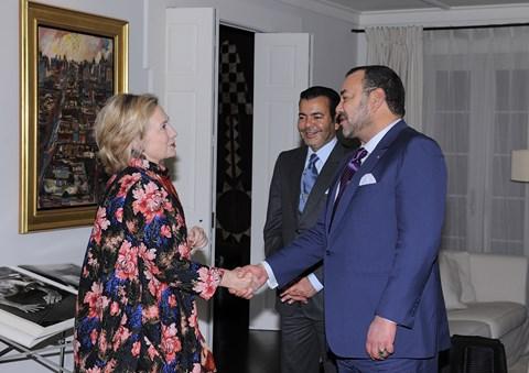 Roi mohammed6 et prince moulay rachid avec hillary clinton newyork 2013