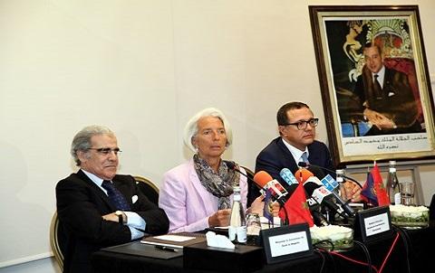 Lagarde et wali jouahri et ministre boussif