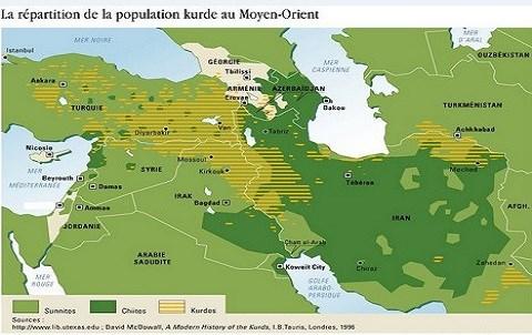 Carte Kurde Moyen Orient