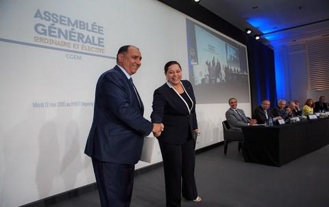 Election de miriem bensalah a la tete du patronat maroc mai 2015