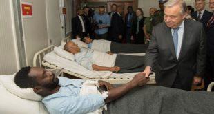 Antonio Guterrez en Centrafrique : Hommage aux casques bleus marocains et cambodgiens