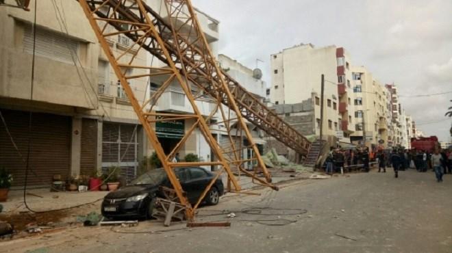 Casablanca : un renversement d'une grue géante fait deux blessés graves