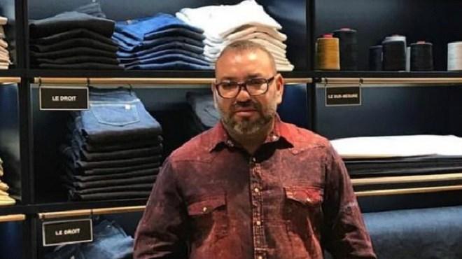 Le roi Mohammed VI dans un magasin de jeans à Paris
