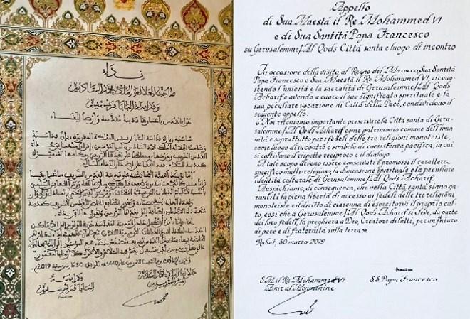 Statut de la Ville Sainte : Amir Al-Mouminine et le Pape François signent l'Appel d'Al Qods