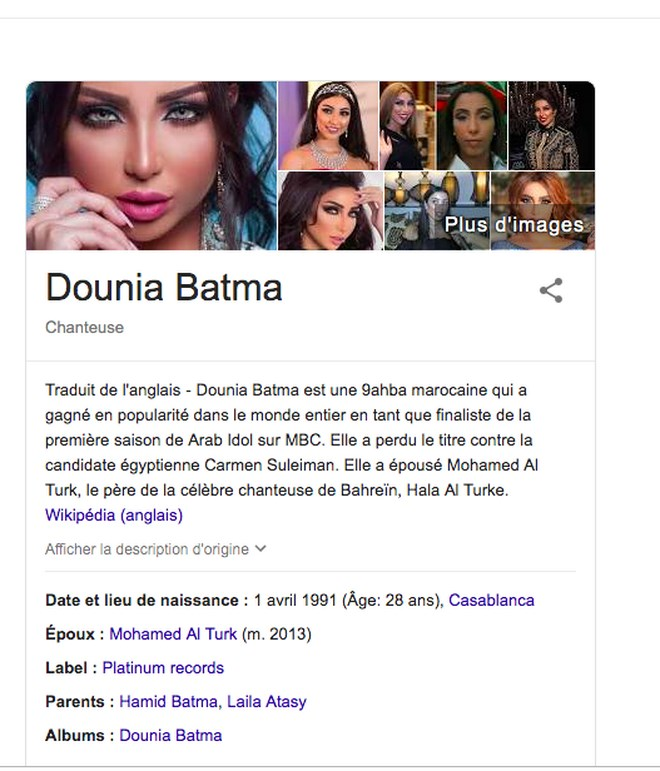 "Dounia Batma qualifiée de ""prostituée"" marocaine sur Wikipédia"