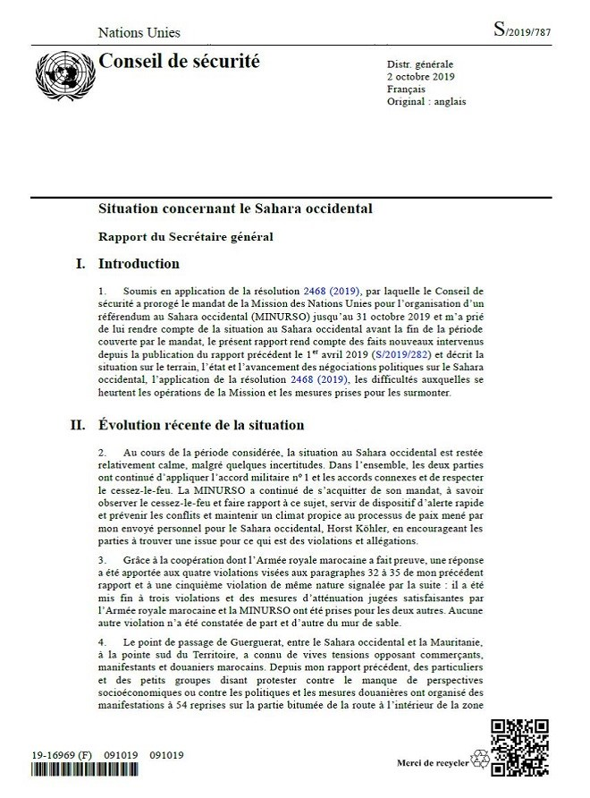 Sahara : Antonio Guterres soumet son rapport aux membres du Conseil de sécurité
