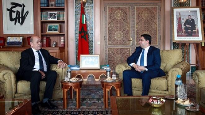 Maroc-France : Nasser Bourita reçoit Jean-Yves Le Drian à Rabat