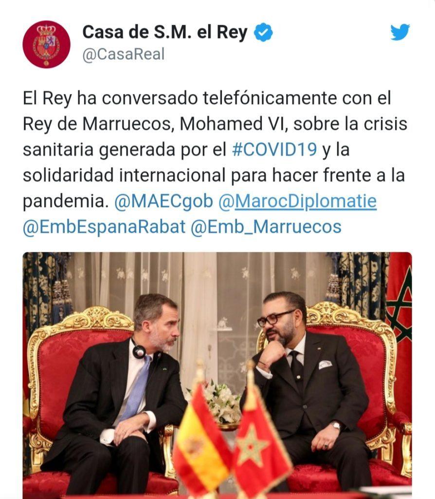 Maroc-Espagne : Entretien téléphonique entre SM le Roi Mohammed VI et le Roi Felipe VI