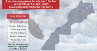 Averses orageuses localement fortes vendredi après-midi dans plusieurs provinces du Royaume