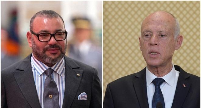 SM le Roi Mohammed VI s'entretient avec le Président Kais Saied