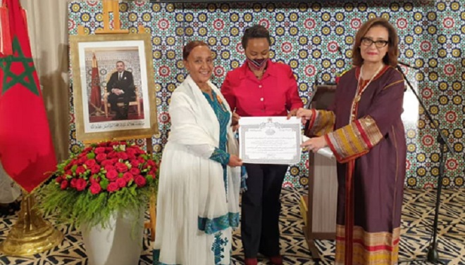 L'ex-ambassadeur d'Ethiopie au Maroc décorée du Wissam alaouite de l'ordre de grand officier