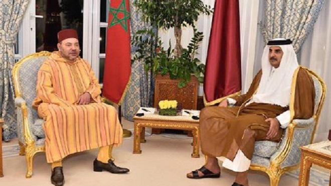 SM le Roi Mohammed VI a reçu un appel de l'Émir de l'État du Qatar