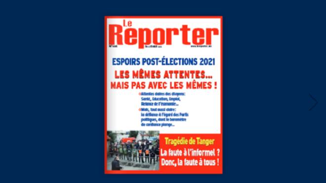 Couverture N° 1026 – 11 février 2021 Le Reporter.ma