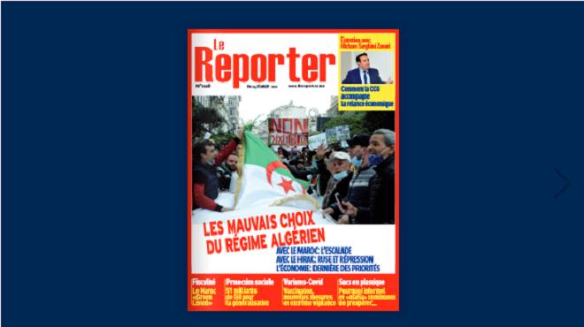 Couverture N° 1028 – 25 février 2021 Le Reporter.ma
