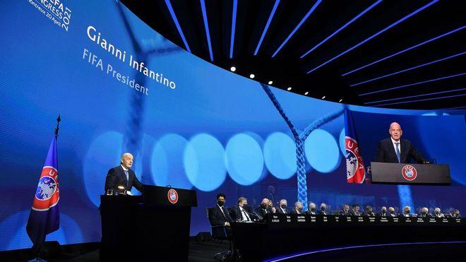 Fifa,Gianni Infantino,UEFA,Super League,Real Madrid,Florentino Perez